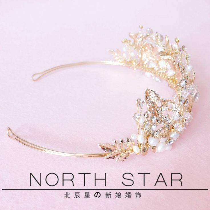 Новый золотой пламени роскошный кристалл алмаза жемчужина цветок невесты брак…
