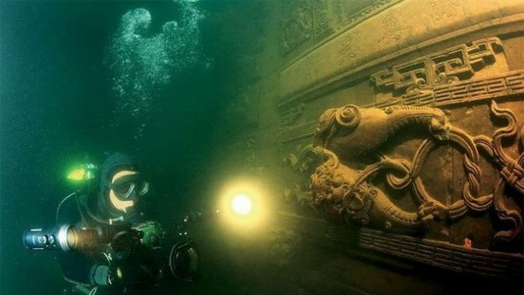 Scuba diving in Qiandao Lake, China - an 1,800 yr old city that was flooded in the '50's to make a hydroelectric plant.