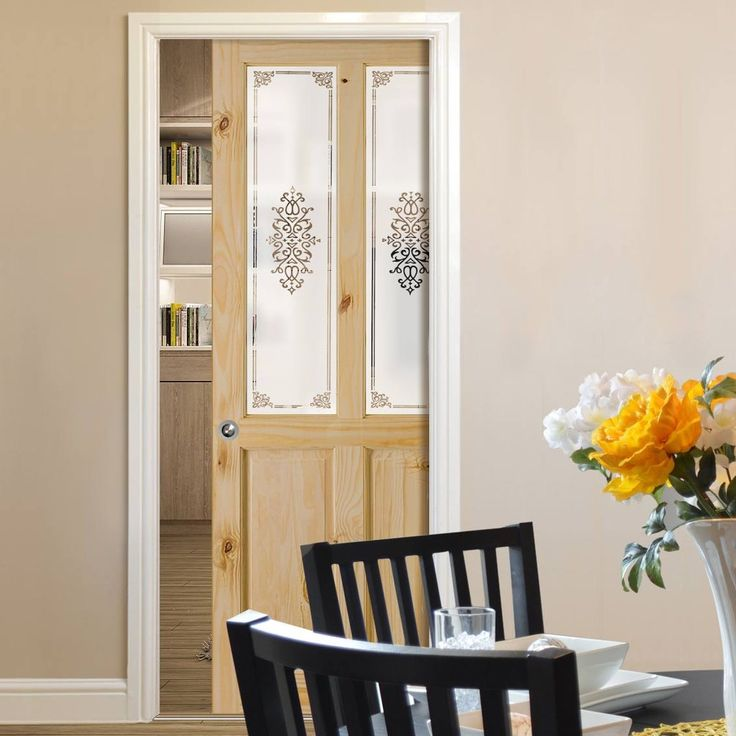 Single Pocket Victorian 2 Panel & 2 Pane Clear Pine Door - Campion Clear Etch Safe Glass. #glazedpocketdoor #pocketdoorwithglass #slidingpinepocketdoor