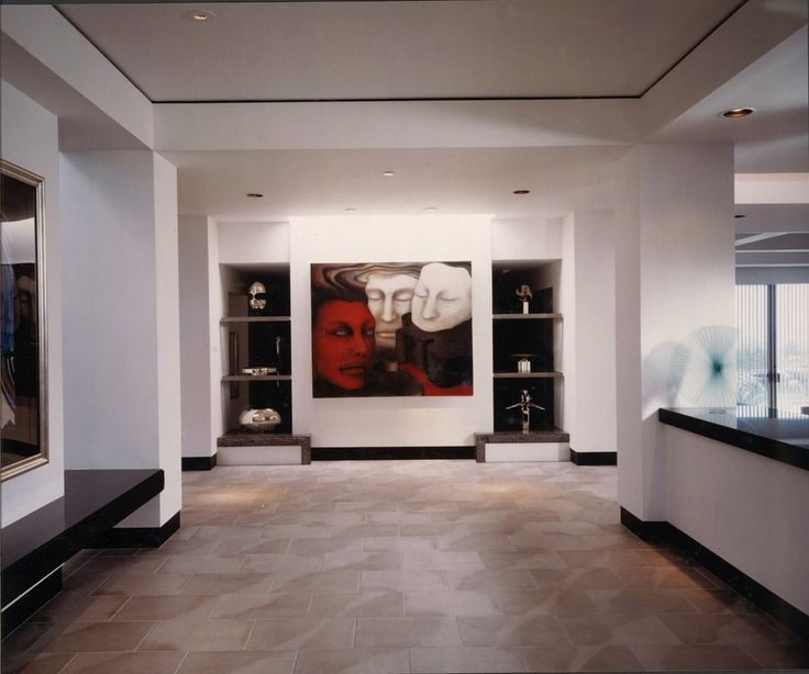 Sumptuous Baseboards convention Other Metro Contemporary Hall Image Ideas with baseboards black and white built in shelves ceiling lighting foyer neutral colors recessed lighting
