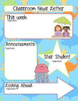 Editable Beach / Ocean Theme Classroom News Letter