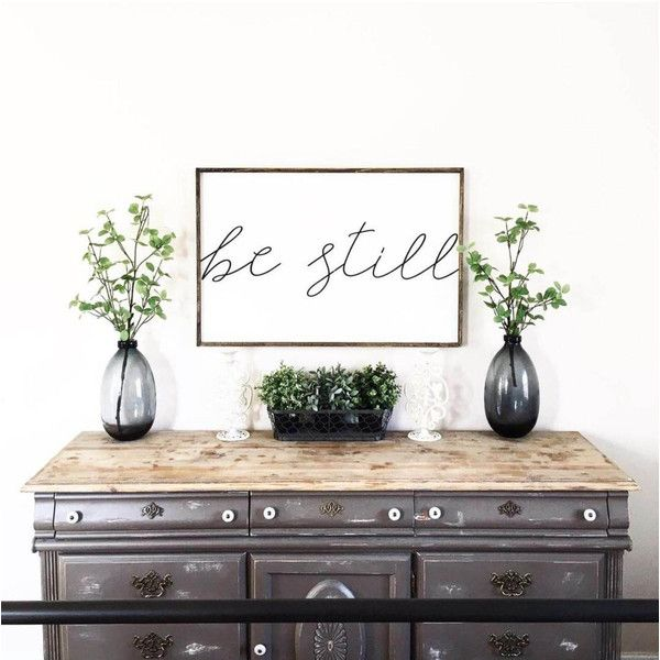 Be Still Wood Sign Farmhouse Decor Farmhouse Signs Rustic Decor Rustic... ($96) ❤ liked on Polyvore featuring home, home decor, wall art, grey, home & living, home décor, wall décor, inspirational signs, wooden signs and inspirational quotes wall art