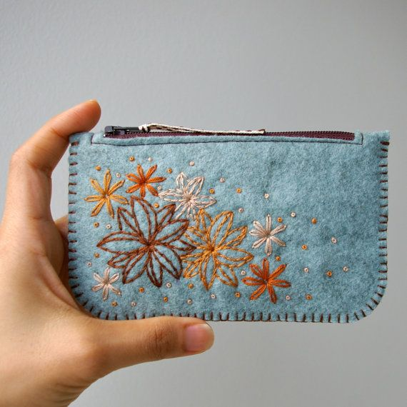 Secret Garden: Made To Order Hand Embroidered Wool Felt Coin Purse or iPhone Cozy by LoftFullOfGoodies. $22.00 on Etsy
