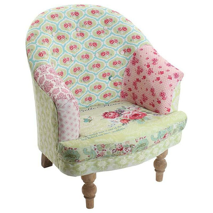 Gorgeous fabric #armchair with fabric pastel patchwork roses and wooden legs. www.inart.com