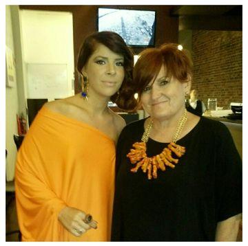 Brooke DiSilvia wears her Alaska earrings alongside friend Pauline Bertram in a custom coral necklace. Looking fab ladies!