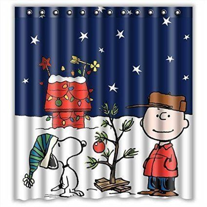 Peanuts Snoopy Christmas Shower Curtain - http://www.christmasshack.com/christmas-shower-curtains/peanuts-snoopy-christmas-shower-curtain/