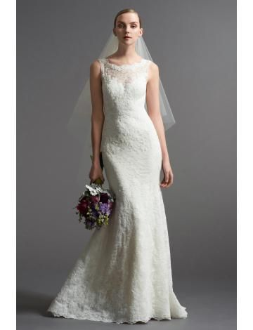 Robe de mariée 2015 dentelle fourreau sans manches zip