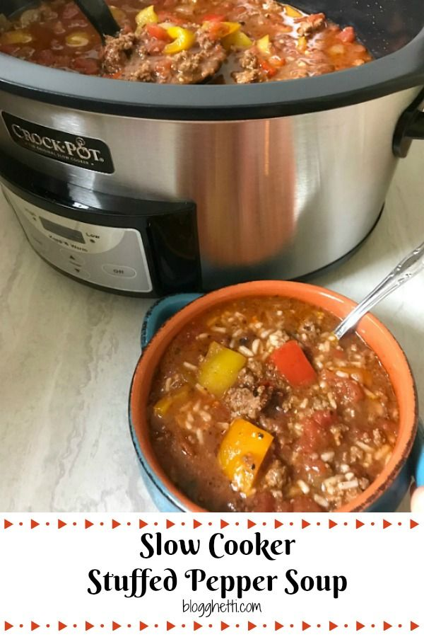 Slow Cooker Stuffed Pepper Soup Is A Hearty Meal Loaded With Everything You Love About A Classi Slow Cooker Stuffed Peppers Stuffed Peppers Stuffed Pepper Soup