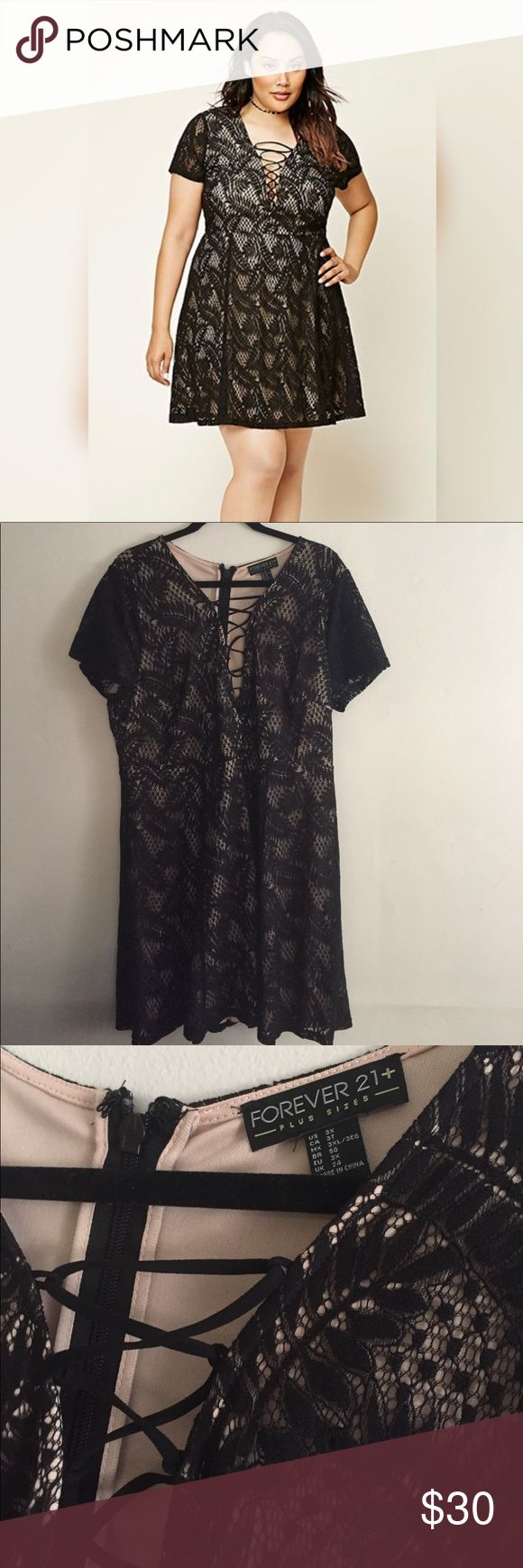 Black lace up plus size dress Nude lining black lace up skater dress. Only worn once for a few hours to a bridal shower. •No Trades •No Holds •Bundle to save on price & shipping  •Offers only accepted through offer button  •Please ask any questions before purchasing  •Happy Poshing! Forever 21 Dresses