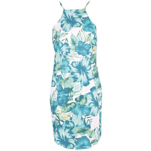 Theodora Tropical Print Bodycon Dress ($24) ❤ liked on Polyvore featuring dresses, bodycon dress, blue bodycon dress, blue body con dress, body conscious dress and blue dress
