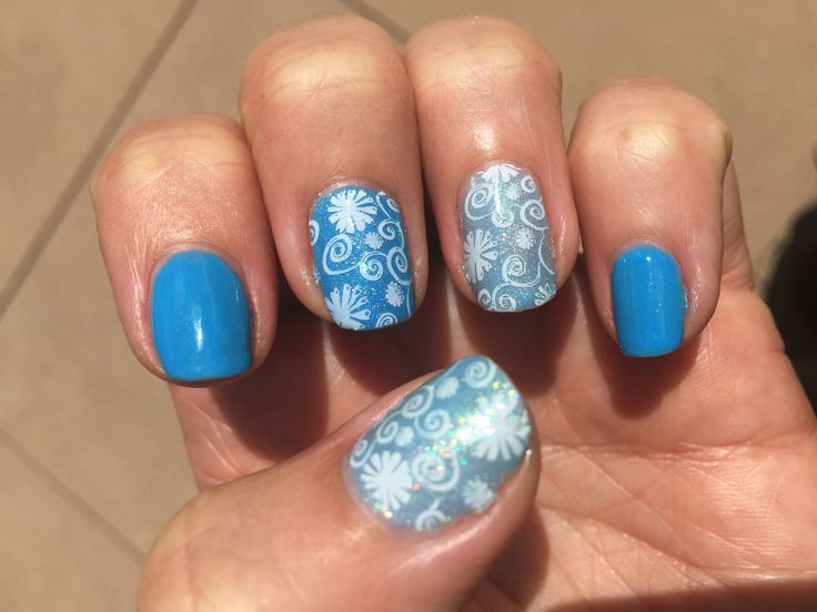 Shellac in Digi-Teal and Azure Wish with Magpie glitter in Blossom and Born Pretty stamping.