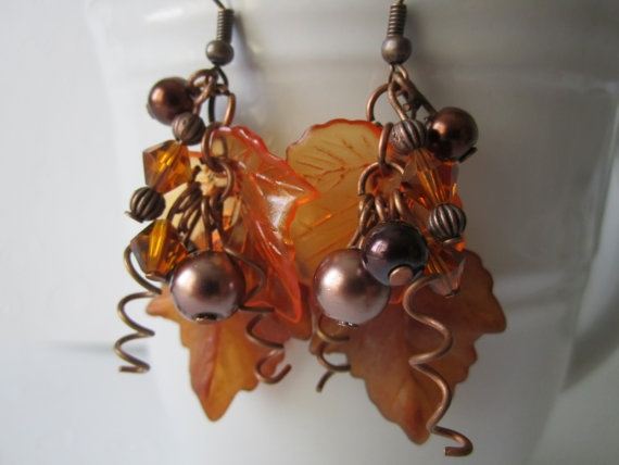Fall Autumn Harvest Leaf Earrings/Lucite Leaf by sweetpeas2012, $12.00