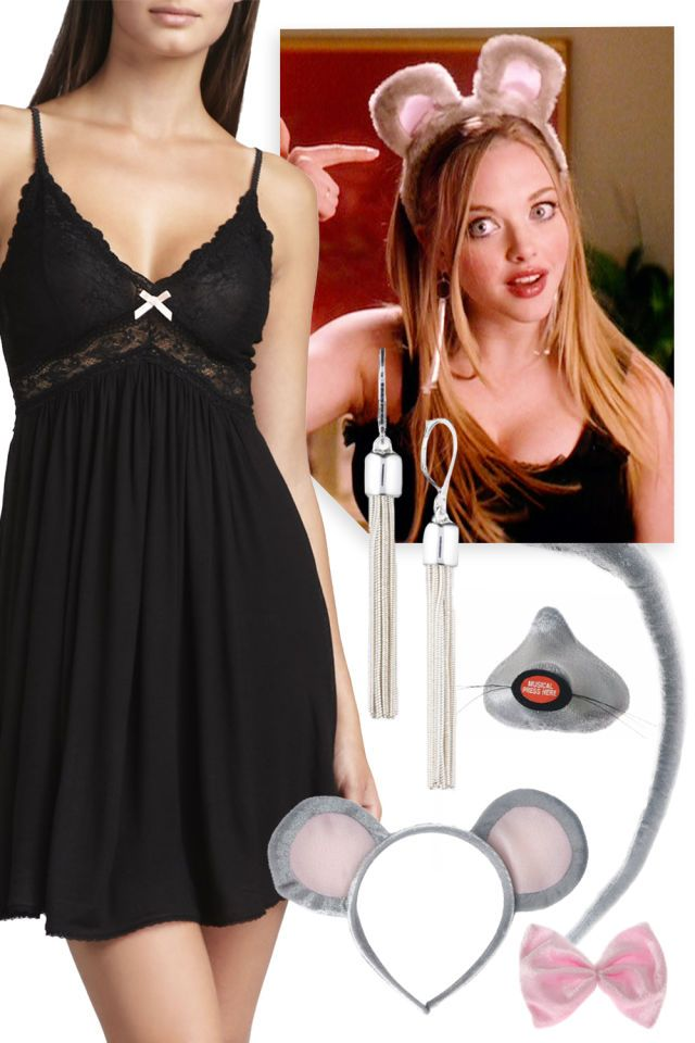 """KAREN FROM """"MEAN GIRLS"""" Oh, Amanda Seyfried, how we continue to love Karen and all the gifts of comedy she gave us in Mean Girls! But our favorite by far is her sexy mouse costume, mostly because that gives us license to go around all night pointing and saying, """"I'm a mouse. Duh!"""" Throw on your black nightgown, make some mouse ears out of construction paper and you're good to go."""