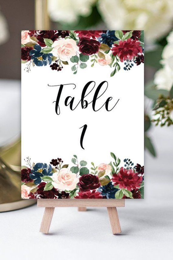 Wedding Table Number Template Printable Wedding Table Numbers