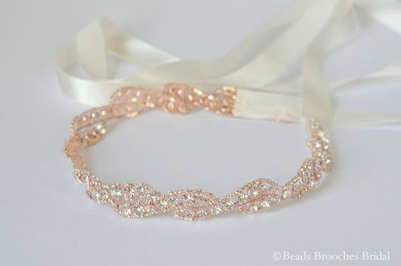 Rose Gold Headband Rose Gold Wedding by BeadsBroochesBridal