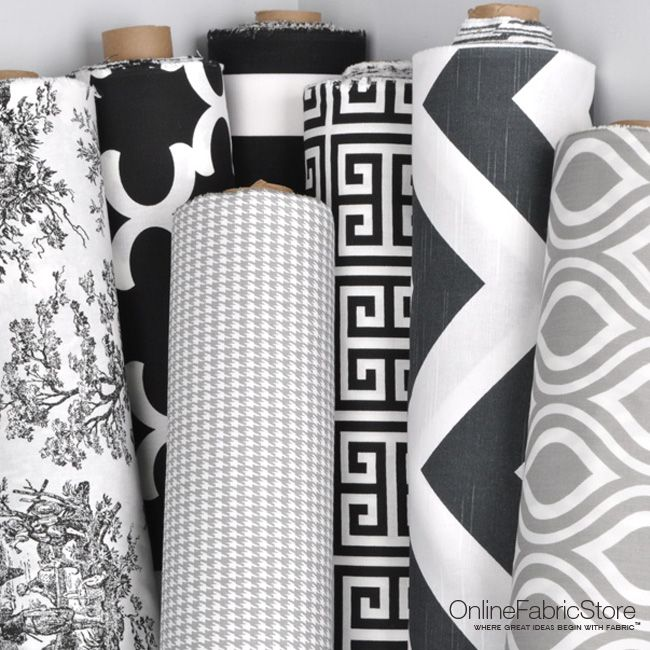 Black, white and gray fabric from Premier Prints including toile, houndstooth, geometric and quatrefoil designs