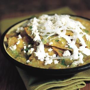 Chilaquiles with Salsa Verde  Williams-Sonoma (totally not authentic since it's probably spruced up by W-S, but I love me some chilaquiles!)