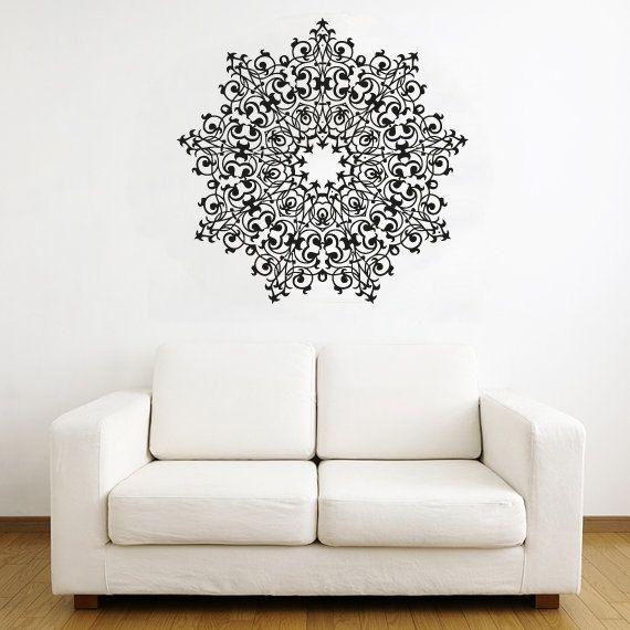 Wall Decal Vinyl Sticker Decals Art Decor Design Mandala Ornament Indidan Geometric Moroccan Pattern Style Yoga Modern Bedroom (r280)