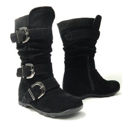 Girl's Mid Calf Adjustable Straps Suede Flat Boots Black , 10 AS By KSC. $32.95