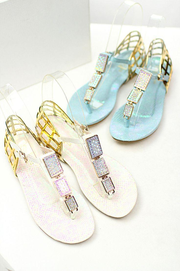 Цвет металла квадратные пряжки горный хрусталь сандалии флип Риме плетеные полые клип носок обуви светло-синий лето - Taobao