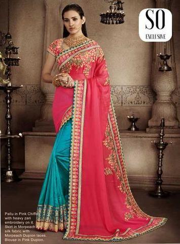 Sari Designer classique rose et bleu Ranjana
