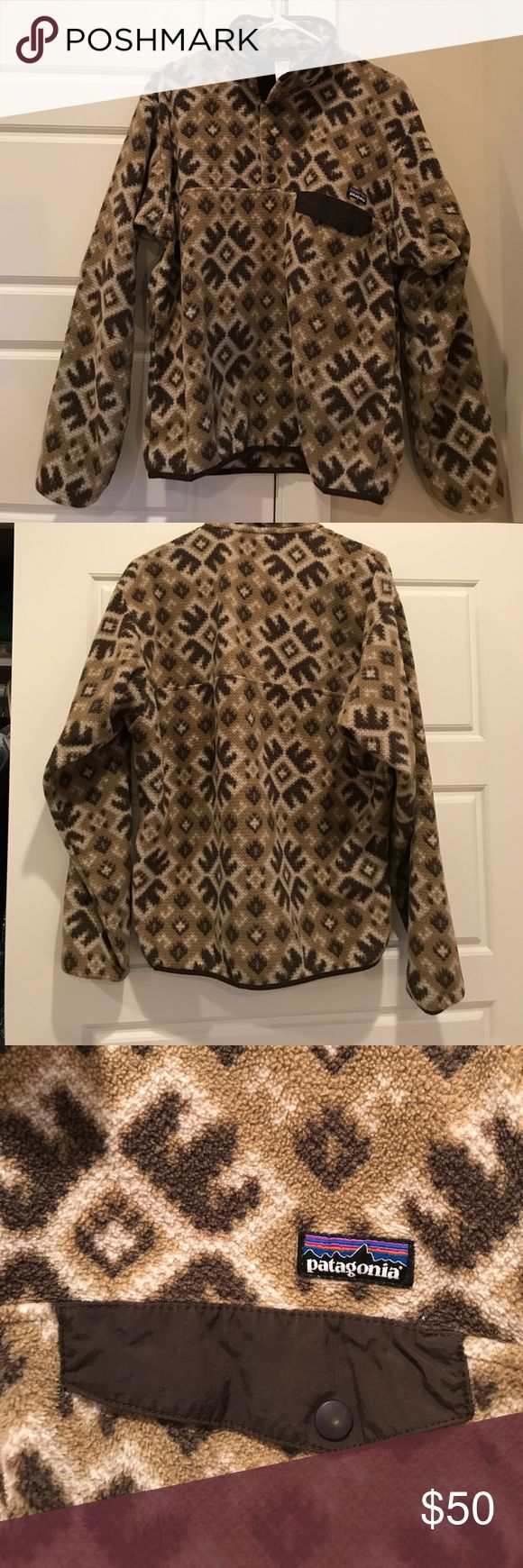 Retro Patagonia Synchilla Pullover Fleece Worn and washed a handful of times. Great Native American print. Cozy and warm no matter the season. Great to read with or go for a hike, all around useful. Patagonia Sweaters Zip Up