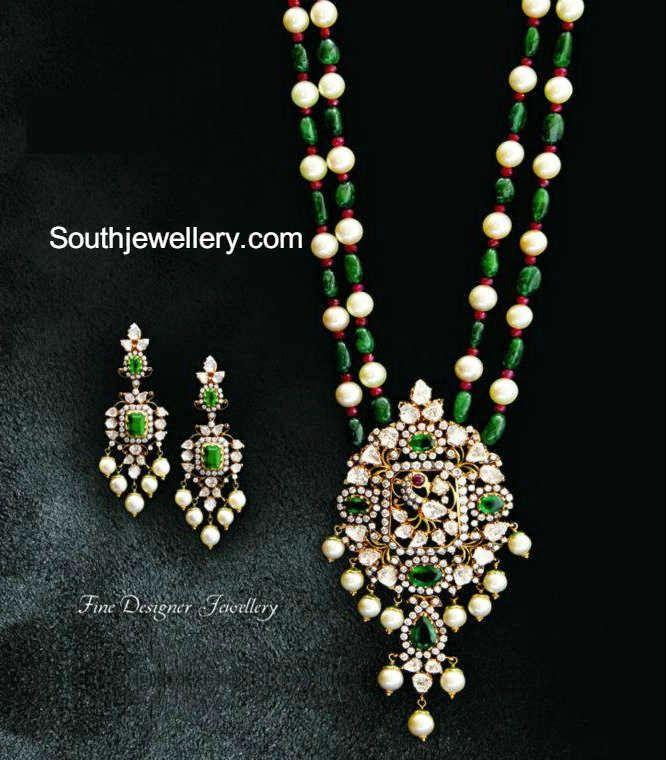 beads necklace with diamond pendant