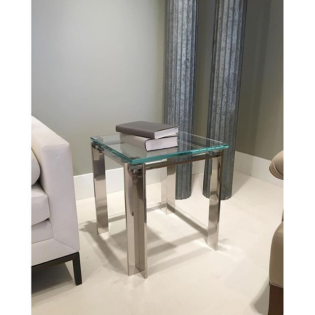 The Gambit Side Table is perfectly scaled to complement your sofa and favorite cocktail.  interior design, furniture, coffee table, sofa table, console, side table, metal coffee table, stainless steel, bronze, glass, design detail, modern design, contemporary, transitional design, minimalist, living room, office, den, study, library, bedroom, cocktail table, Maxine Snider Inc.