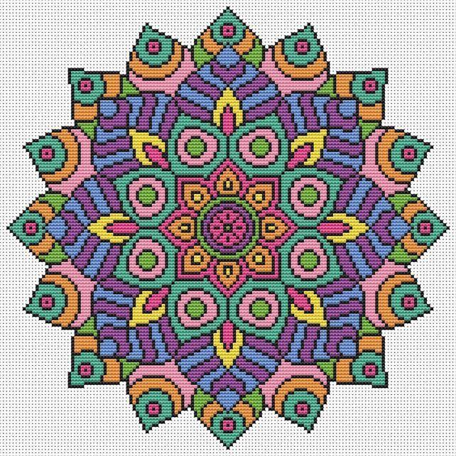 Mandala Cross Stitch Kit - Colourful Geometric Modern Cross Stitch DMC Threads £15.49