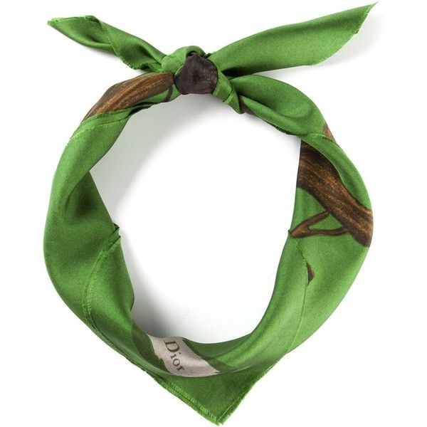 Christian Dior Vintage Floral Scarf (7,920 THB) found on Polyvore featuring women's fashion, accessories, scarves, green, vintage shawl, green shawl, floral scarves, floral print scarves and green scarves