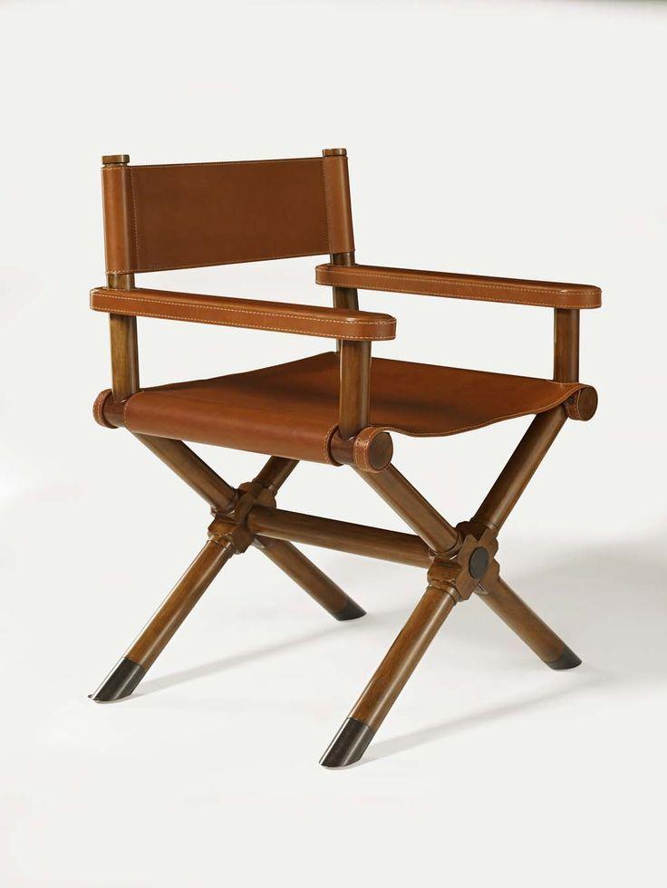Fauteuil de réalisateur signé Ralph Lauren Home en cuir de selle et bois de cerisier.