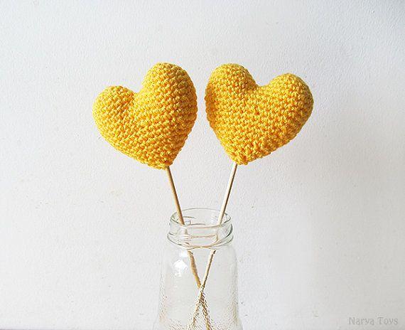 Amigurumi Crochet Sun Heart Set of 2  Cake topper  by naryatoys
