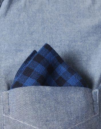 Pocket Square - Denim blue with sharp, white leaf stems Notch
