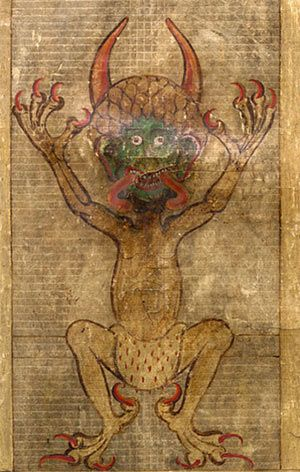 Illustration of a Devil found in the 13th century medieval manuscript Codex-Gigas. According to legend the book was written by a monk who sold his soul to the devil so in order to complete the manuscript in one night, and so complete the task which would let him off his execution (by being walled in alive) for breaking his monastic vows.