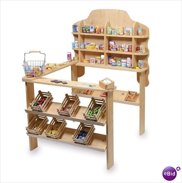 Fantastic Wooden Pretend Toy Shop Market Stall Natural Wood Kids Toy