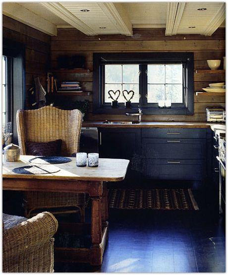 Beautiful Wide Plank Floor in this cozy, rustic Scandinavian kitchen