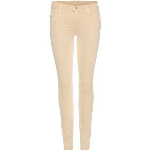 7 For All Mankind The Skinny Jeans (€210) ❤ liked on Polyvore featuring jeans, pants, beige, skinny leg jeans, beige jeans, 7 for all mankind, cut skinny jeans and skinny jeans