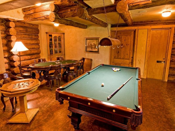 Fun idea turn your basement into a log cabin saloon for Log cabin basement ideas