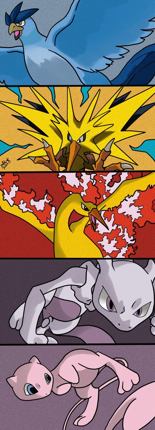 25 best ideas about pokemon moltres on pinterest real pokemon games - Kanto Legendaries By Palahniuksin666 Articuno Zapdos Moltres Mewtwo And Mew Articuno Zapdos Moltrespokemon