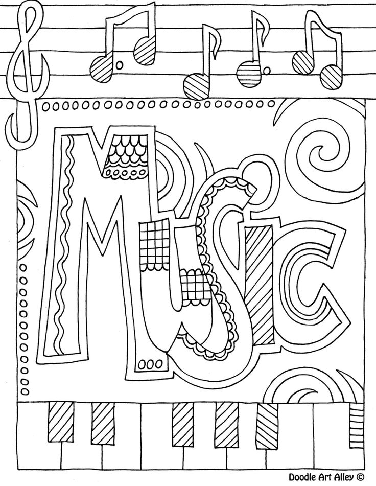 Music Color Page I Like To Print These On The Back Of SUB Plan Worksheets For Early Finishers