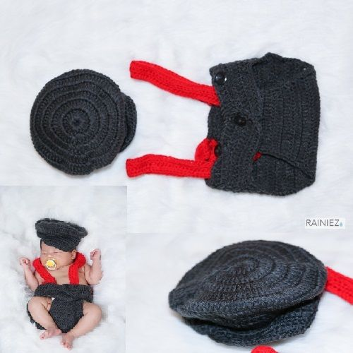 Cute Hand-Made Crochet Train Conductor - Perfect as a baby photography prop - Made with soft yarn - Great for new moms and perfect for a baby shower gift! www.rainiez.etsy.com