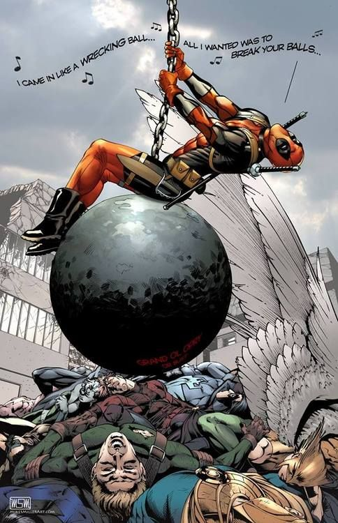"""I'm having way to much fun finding these dead pool/wrecking ball comics. """"All I wanted was to break your balls"""" hahahahaha"""