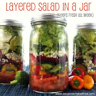 Layered Salad in a Jar. Stays fresh all week! (the trick is to layer in a certain order)