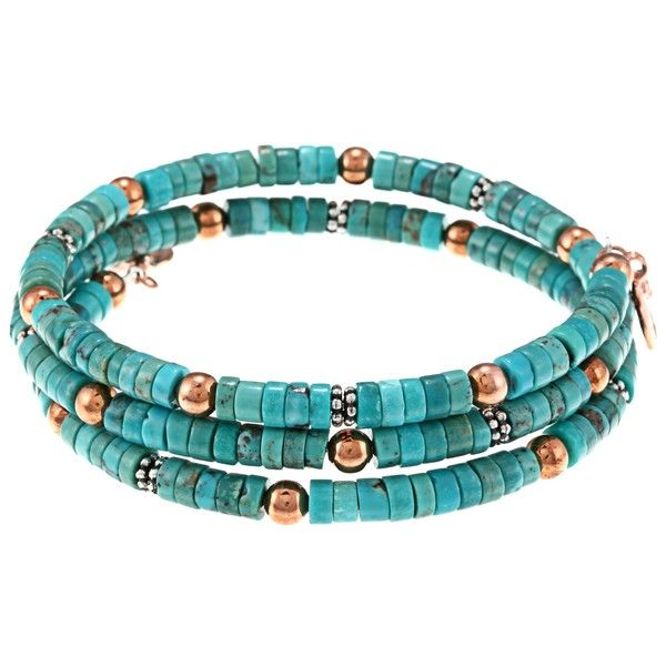Turquoise, copper and silver memory wire bracelet.