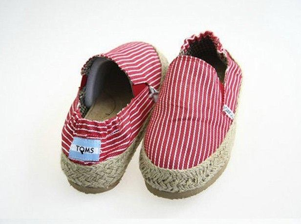 New Arrival Toms Flax Knit Strip Shoes Red