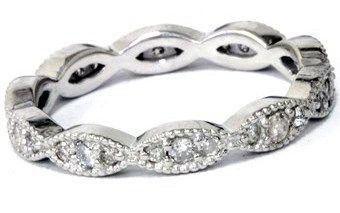 Pompeii3 3/8ct Diamond Vintage Eternity Ring Stackable Womens Wedding Band 14k White Gold.