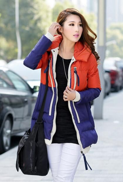 Aliexpress.com : Blue and Red Sporty Down Coat  Long Slim Duck Down Coat