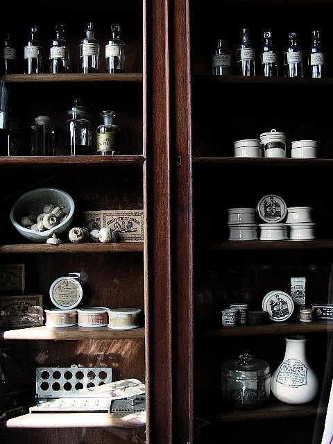 shelving, cabinet in the apothecarys, Sovereign Hill Ballarat.