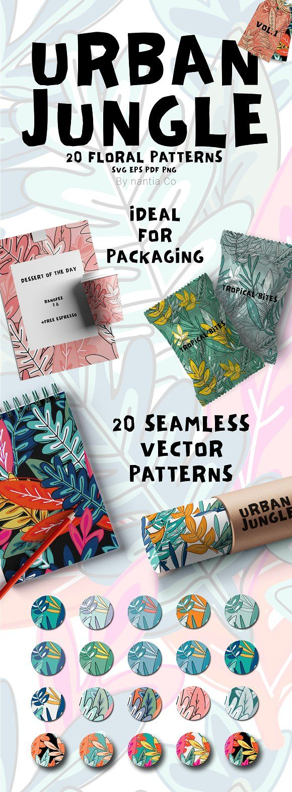 20 Urban Jungle Pattern Vol.1 by nantia on @creativemarket Ideal for fashion and interior design textiles. This floral pattern can be used on graphic design packaging projects.