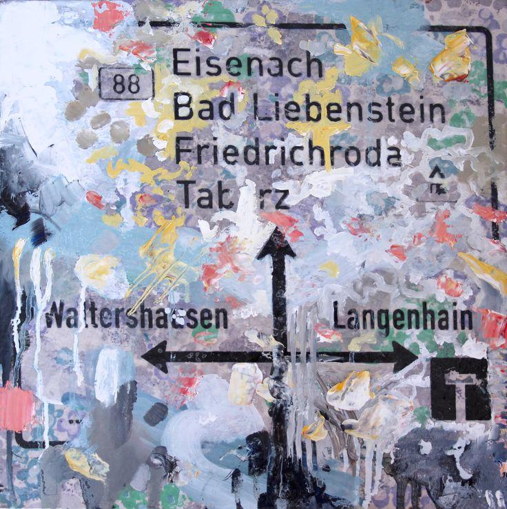Susanne Wawra, Heimfahrt (Journey Home), 2016, Mixed Media Painting, 30 x 30 cm.